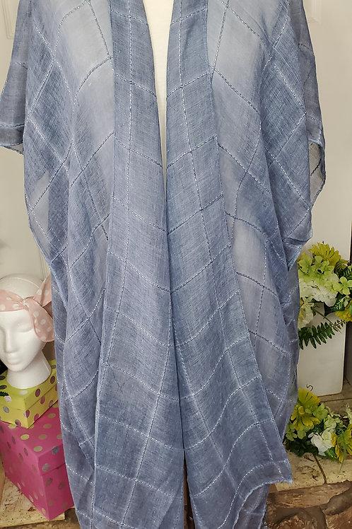 Jean BlueWindowpane Lurex Tassel Kimono