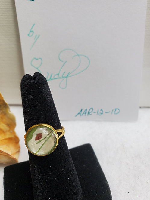 Artistic Acrylic Pearl/Bronze/Green small adjustable size ring-goldtone ovr sta