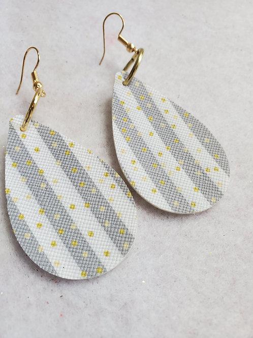 Gray/White striped faux leather teardrop w/gold polka dots w/gold-tone wires