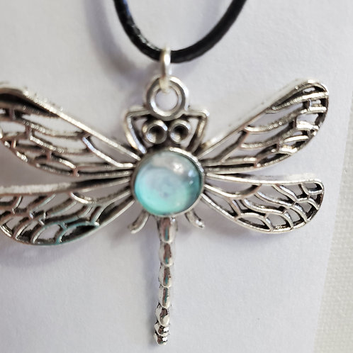 """Artistic Acrylic Bay Shore Dragonfly Pendant necklace 9 1/2""""black leather cord"""