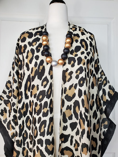 White Leopard Open Front Cardigan