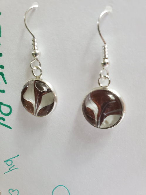 Artistic Acrylic Bronze/Pearl Dangle Earrings on Silver-tone metal