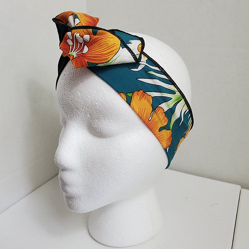 Tropical Print Orange/Green Wire-wrapped Headband
