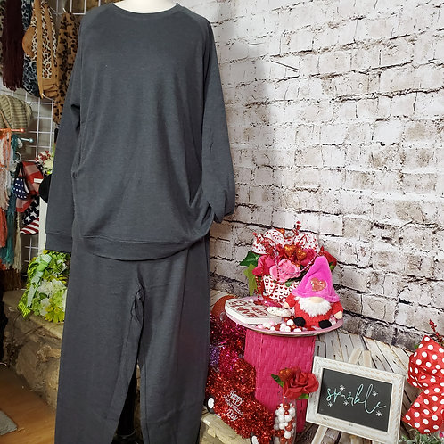CHARCOAL Cotton Raglan Sleeve Pullover and Jogger Pant w/pocket SET