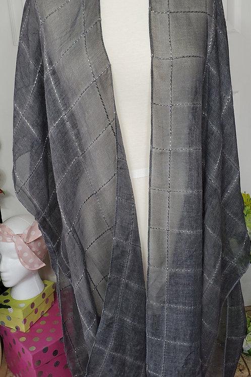 Charcoal Windowpane Lurex Tassel Kimono