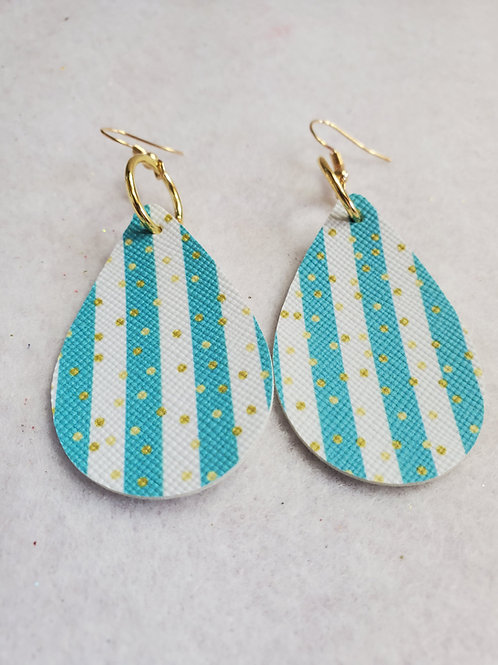 Turquoise/White striped faux leather teardrop w/gold polka dots w/gold-tone wire