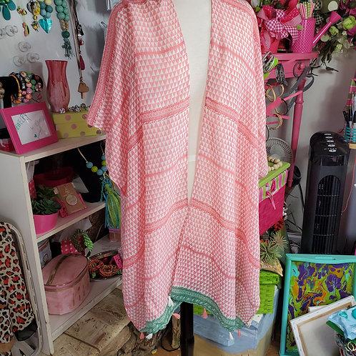 Coral and white print w/green trim and tassels Kimono