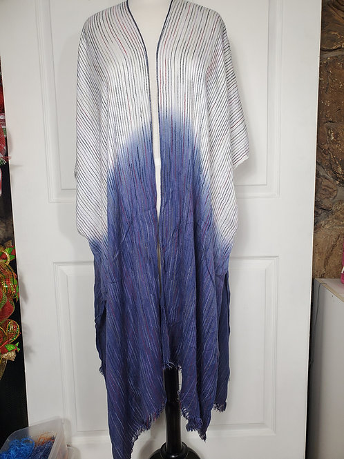 Ombre Blue Vertical Multi-color Stitched Kimono