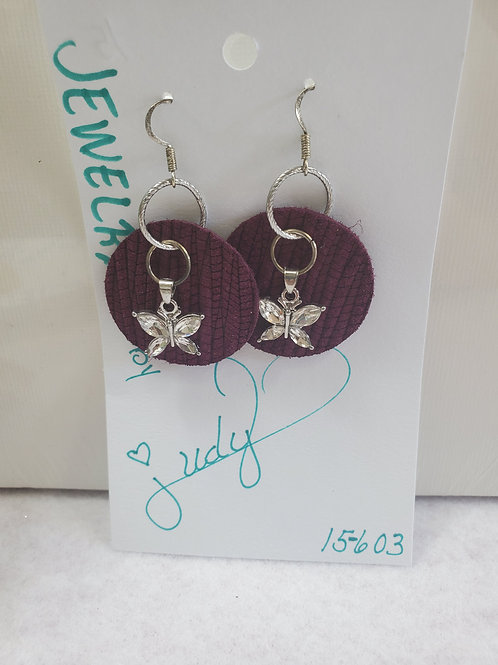 Purple Circle Leather w/silver bling butterfly w/silver-tone wires