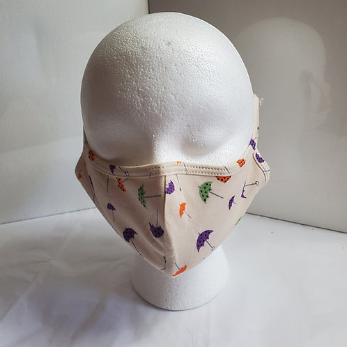 Cotton Face Mask /w Umbrella Print: Tan Over the Ear