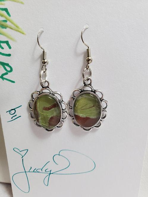 Artistic Acrylic Bronze/Green Fancy Dangle Earrings on silver-tone m