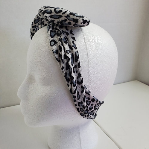 Black/White/Gray Animal Print Cotton knit Wire-wrapped Head