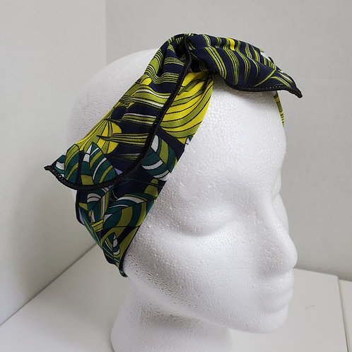 Tropical Print Lime/Yellow/Navy Wire-wrapped Headband
