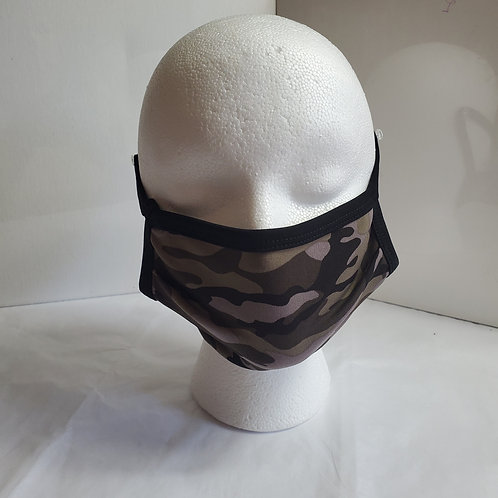 Army Camo: Camouflage Print Fabric Contour Face mask: Over the Ear
