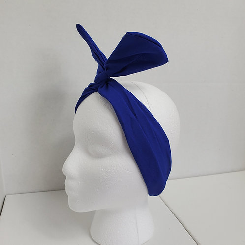 Royal Blue Solid Color Crepe Bow-Tie end Wire-wrapped Headband