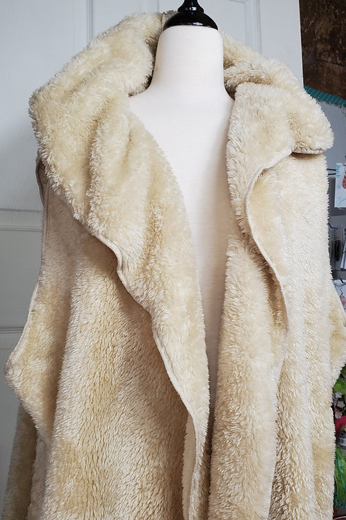 Cream color Faux Fur Hooded Vest