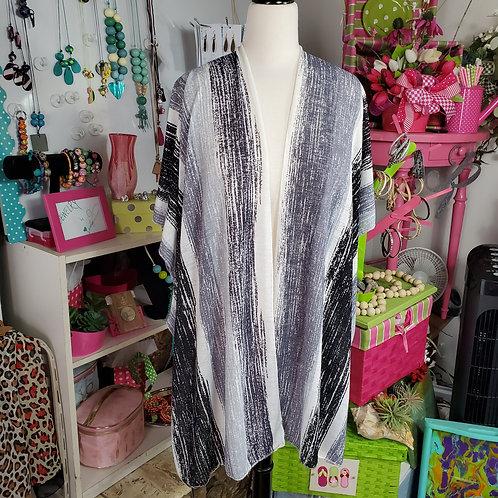 Lightweight Distressed Cream/Gray/Black strip Kimono