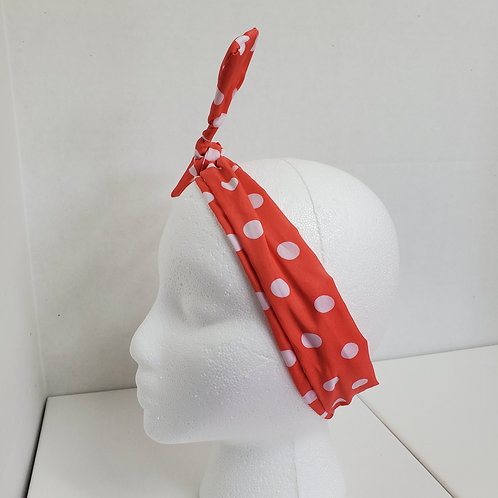 Orange w/white polka dots Color Brights Bow-Tie end Wire-wrapped Headband