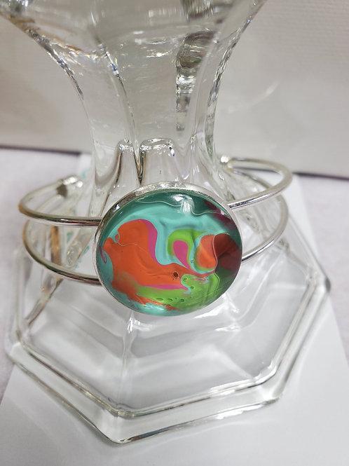 Artistic Acrylic Multi-color Orange/Green Cuff Bracelet on Silver-tone metal