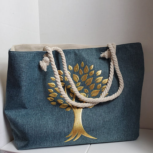 Teal Canvas 22 x 16 Tote Bag 2/ embossed gold tree
