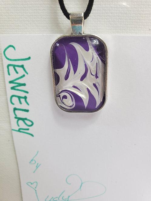 "Artistic Acrylic Purple/Pearl Oblong Pendant 14""black leather cord Silver-tone"