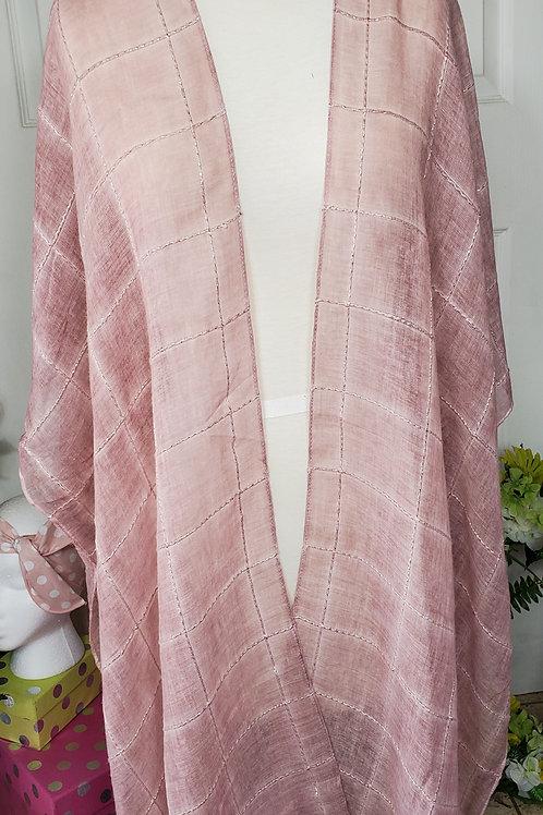 Rose Windowpane Lurex Tassel Kimono