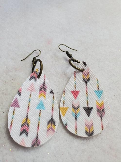 Multi-Color Arrow Pattern faux leather teardrops w/dark-copper wires