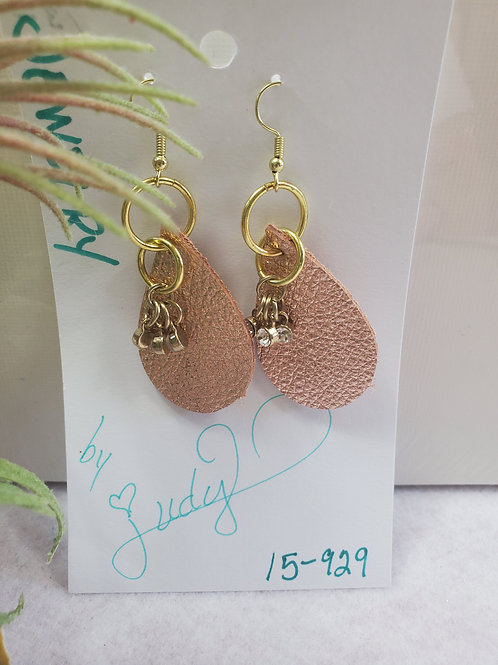Rose Gold leather w/bling gems Teardrop w/gold-tone wires
