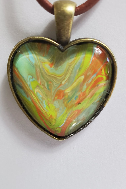 """Artistic Acrylic Desert Natural Heart Shaped Pendant 12"""" brown leather cord"""