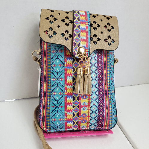 1A Aztec Print Faux Leather cell phone case/wallet w/detachable cross body hand