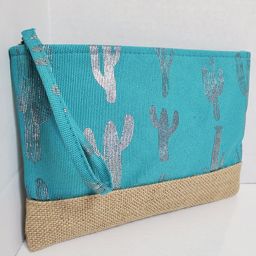 small 6 1/2 x 9 1/2 Metallic Cactus Print canvas tote turquoise and silver