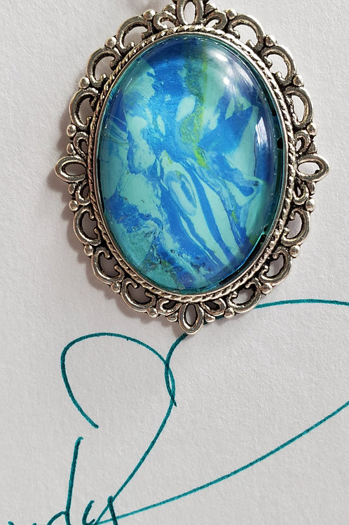 """Artistic Acrylic Ocean Blue Oval Pendant 13"""" Pearl leather cord Silver-t"""