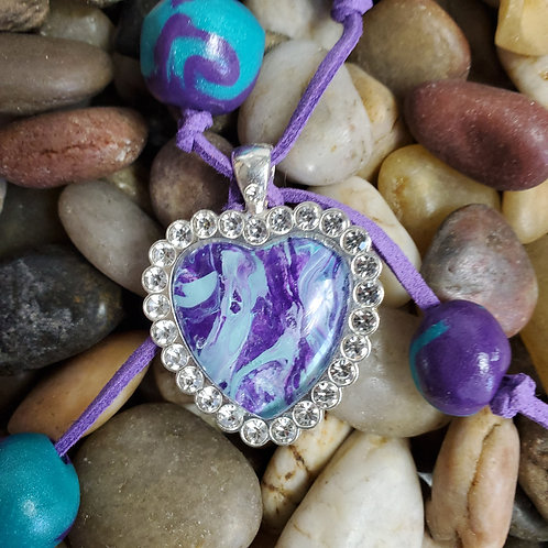 Teal/Purple key chain with custom beads and bling heart pendant w/purple suede
