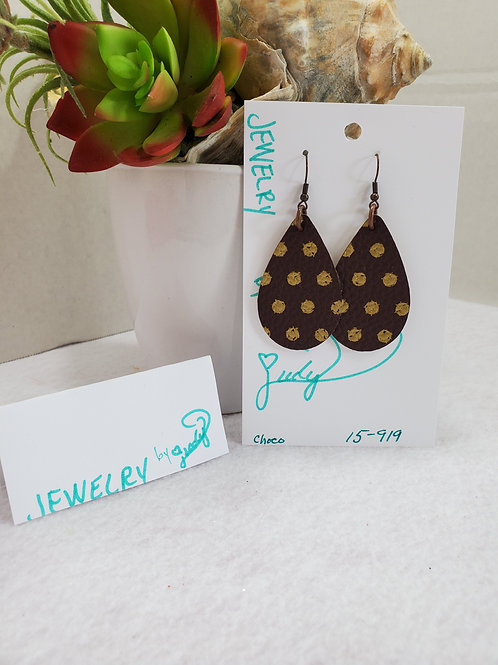 Chocolate Brown w/gold dots leather teardrop with aged metal wires
