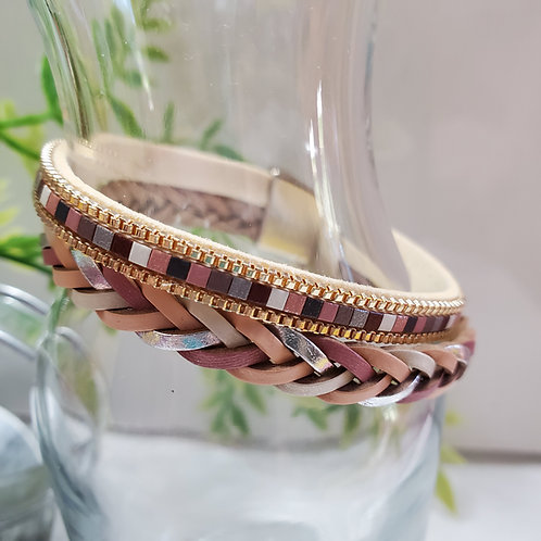 2 Strand silver/rose pink Faux Leather Bracelet magnetic clasp
