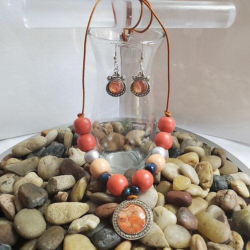 "SET-Bronze Midnight 14"" Round Necklace and Earrings"