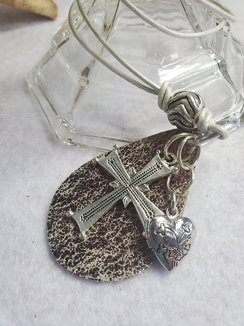 Silver Leather teardrop Necklace
