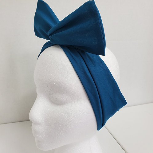 Teal Solid Color Crepe Bow-Tie end Wire-wrapped Headband