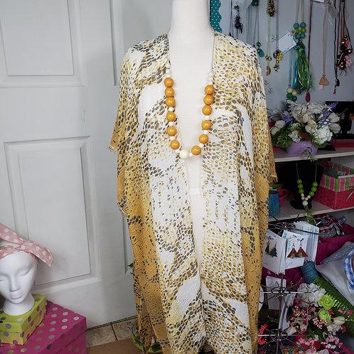 Lightweight Mustard Python Print Kimono