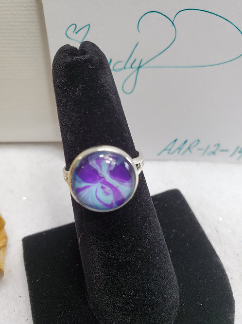 Artistic Acrylic Purple/Turquoise small adjustable size ring-goldtone over sta