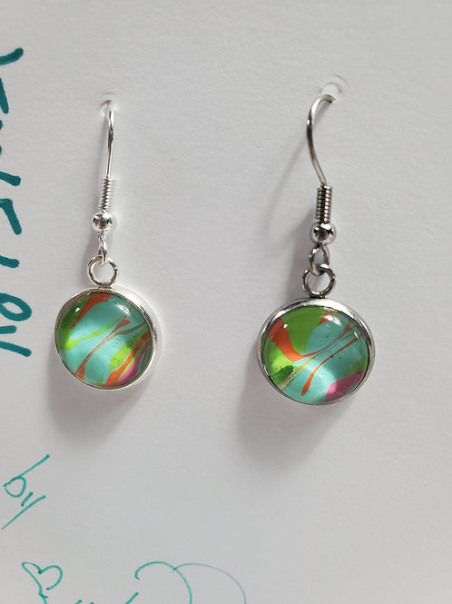 Artistic Acrylic Multi-color Dangle Earrings on Silver-tone wire
