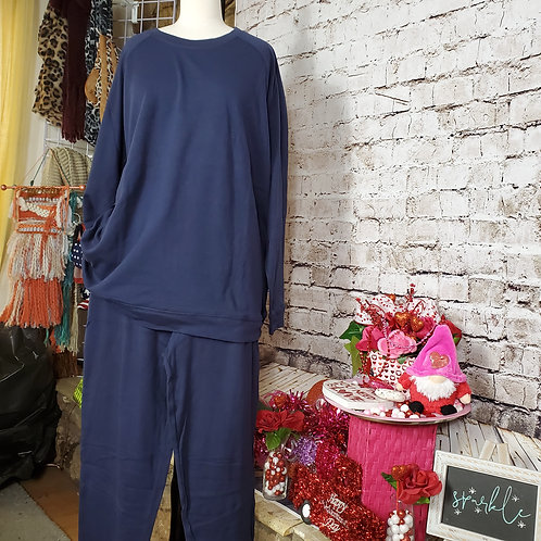 NAVY Cotton Raglan Sleeve Pullover and Jogger Pant w/pocket SET