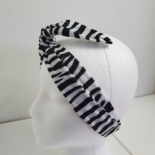 Black and White Zebra Print Cotton knit Wire-wrapped Head