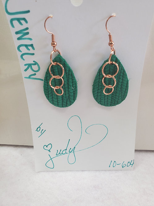 Green Leather teardrop with copper circles w/copper-tone wires