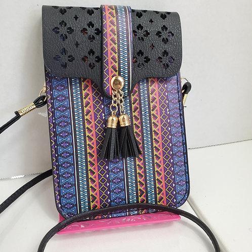Aztec Print Faux Leather cell phone case/wallet w/detachable cross body handle