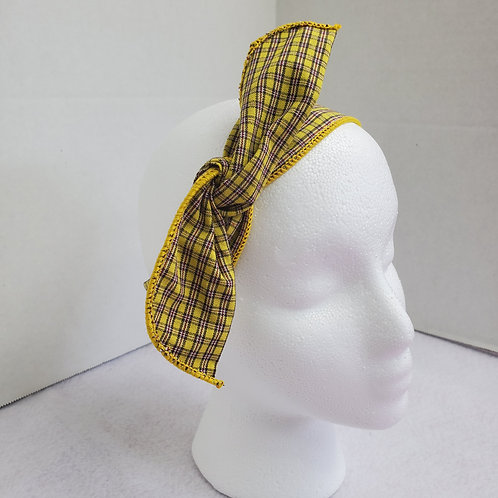 Mustard Yellow Plaid Wire-wrapped Headband