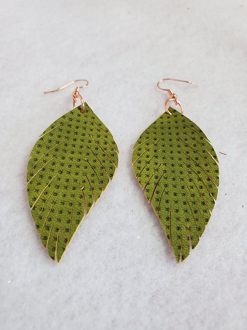 Green w/embedded dot real leather Feather with copper wires