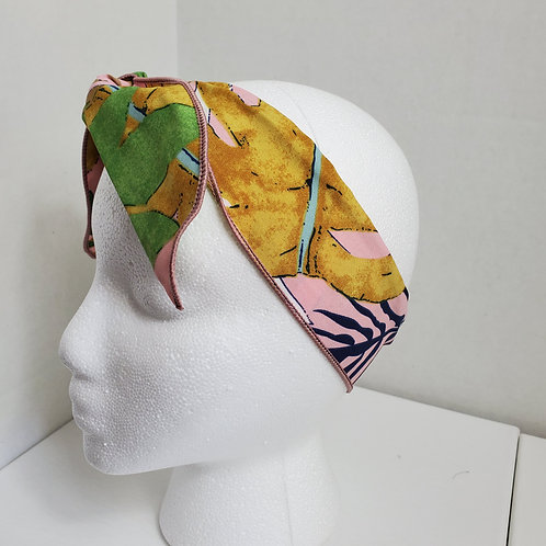 Tropical Print Green/Pink/Gold Wire-wrapped Headband