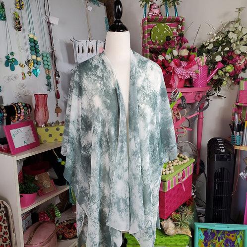 Lightweight Green Marble Kimono