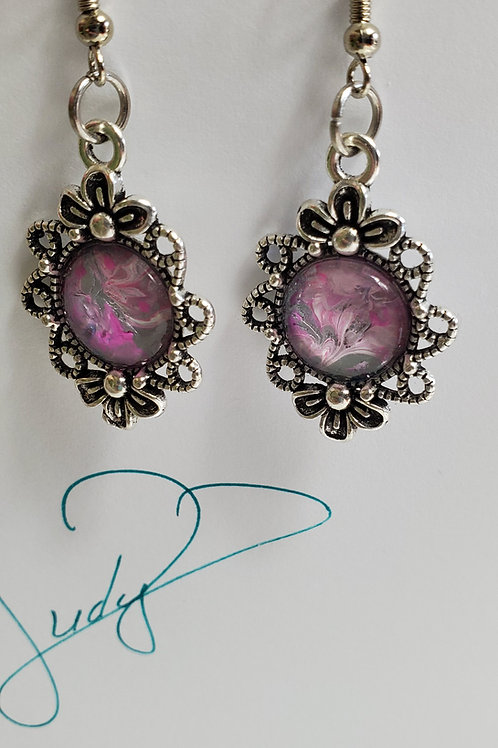 Artistic Acrylic Pink Dream Fancy Dangle Earrings on silver-tone m